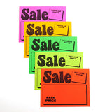 "Sign Card ""Sale/Regular Price"" - Fluorescent Colors - (100/Pack)"