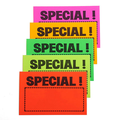 "Sign Card - ""Special!"" - Five Fluorescent Colors - (100/Pack)"
