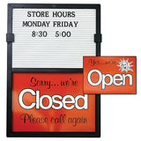 Open/Close Sign with Message Board Removable Letters and Numbers