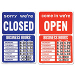 Open/Closed Window Sign - 2 Sided Red/Blue with Peel & Stick Numbers