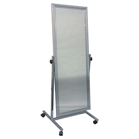 Adjustable Mirror with Floor Stand & Casters - Chrome