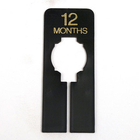 "Rectangular Ring - ""Months"" - Black With Gold Print"