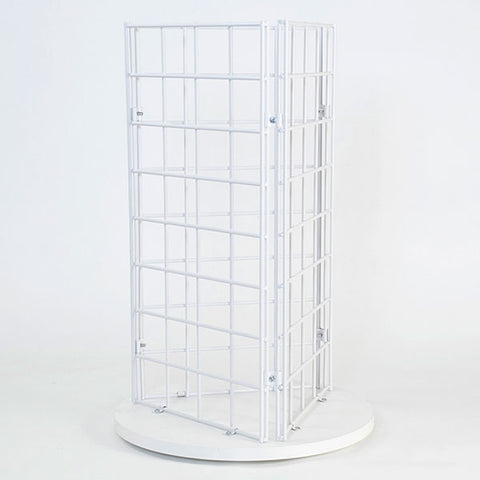 "Grid Countertop Spinner Display 3-sided 3""OC - White"