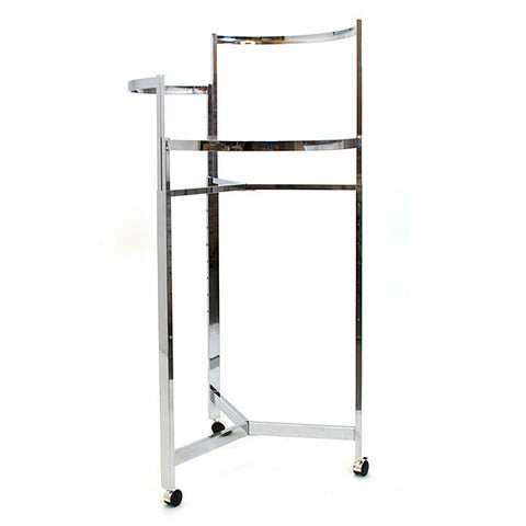 "Rack - 36"" Tri-Level - Round - Chrome - w/ Casters"