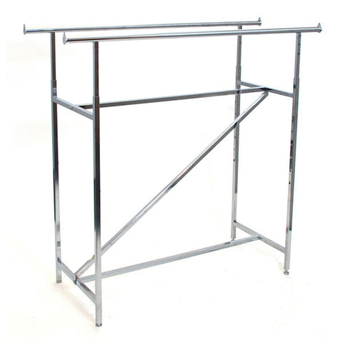 Double Rail Clothing Rack with Z-Bar, - Chrome (2 ctns)