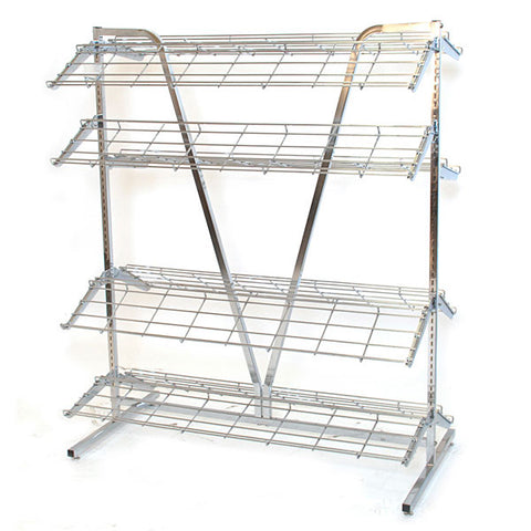 "Shoe rack, 2-sided 4' wide x 66""high includes 8-12' deep shelves - chrome"