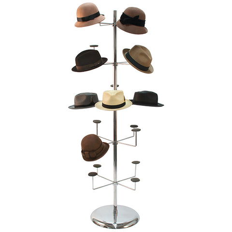 Millinery Rack - Holds 20 Hats - Floor Standing - Chrome - 3 Cartons