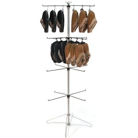 Wire Spinner Rack, 4 Tiers with Hooks and Sign Clip