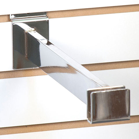 "Slatwall Hangrail Bracket for 1/2""x 1-1/2"" Rectangular Tubing - chrome"