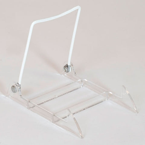 Display Easel - Clear Plastic Base/White Upright