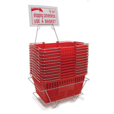 Shopping Basket Set - Includes 12 Baskets - Stand and Sign - Red