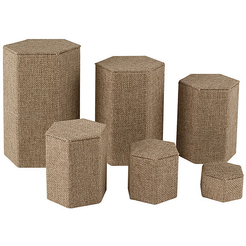 Hexagon Shape Riser Set - Set of 6 - Burlap
