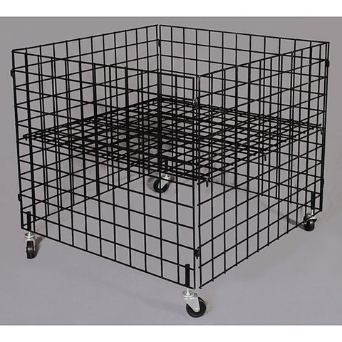 "Dump bin, 36""x36""x30"" high grid panels with casters"