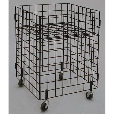"Grid dump bin with casters, 24""x24""x34""high - black"