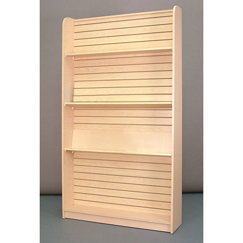 "Wall book case, 48""w x 84""h x 12""d, with 3""OC slatwall for adjustable shelves - maple"