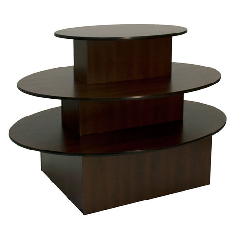 "Table 3 Tier Chocolate Cherry Oval 60""Lx40""Hx44""W W/ Black T Mold"