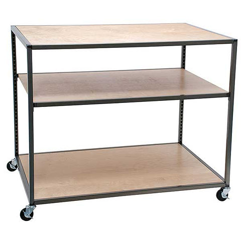 Rolling Table Top and bottom shelf are fixed Adjustable middle shelf Raw metal with clear coat