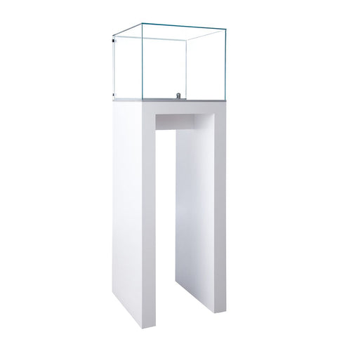Contemporary Glass Pedestal Display with Locking Door