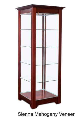 Classic Wood Tower Display Case with Dignified Crown Molding