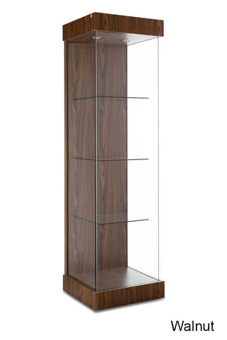 Contemporary Floating Shelves Tower Showcase with Sliding Door
