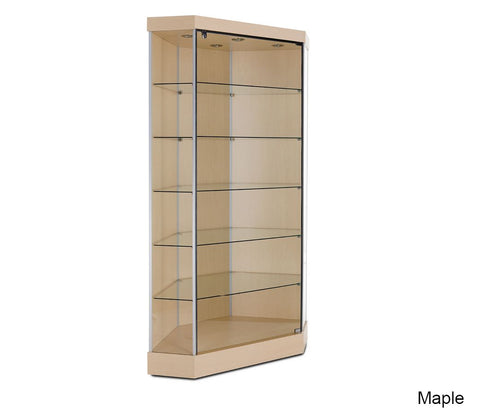 Attractive Corner Glass Display Case with Hinged Door and Clipped Back