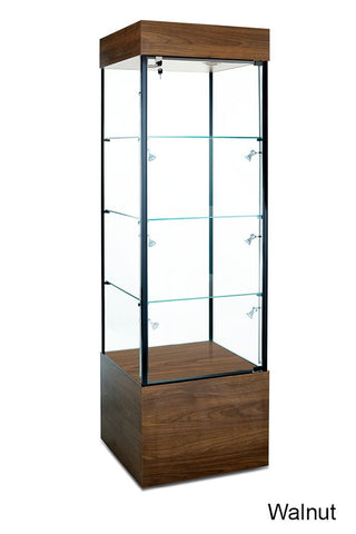 Select Retail Tower Display Case with Three Shelves