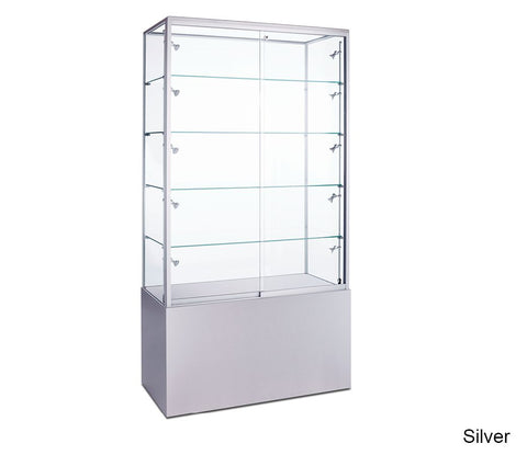 Luminous Floor Display Case with Glass Top and Optional Storage