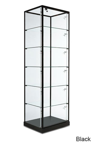 Modern Tower Display Case with Glass Top