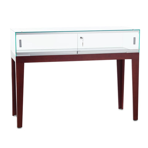 Refined Sit-Down Wood Counter Display Case with Tapered Legs