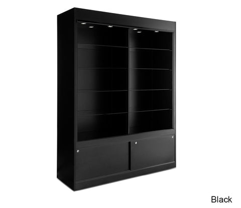 Imposing Floor Display with Storage Cabinets that are Locking