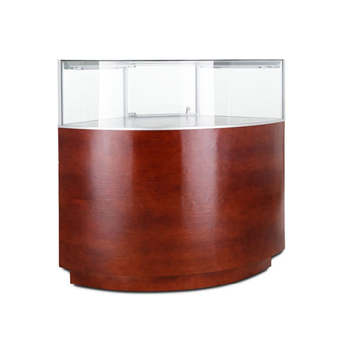 Magnificent Curved Corner Jewelry Display Case