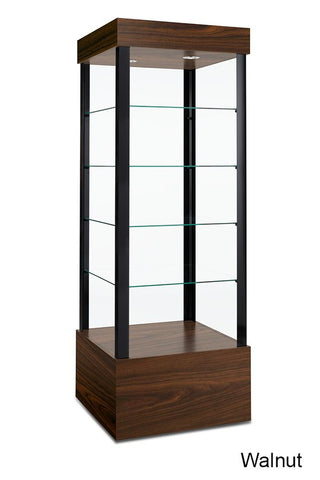 Easily Transportable Tower Display Case with Open Sides
