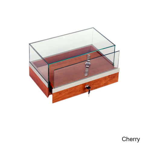 Splendid Wood Countertop Display Case with Locking Pullout Deck