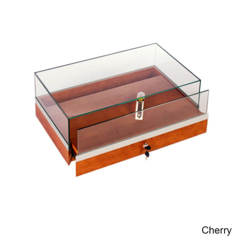 Stylish Glass Counter Display Case with Locking Pullout Deck