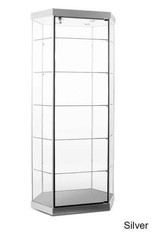 Stretched Hexagonal Tower Display Case with Five Shelves