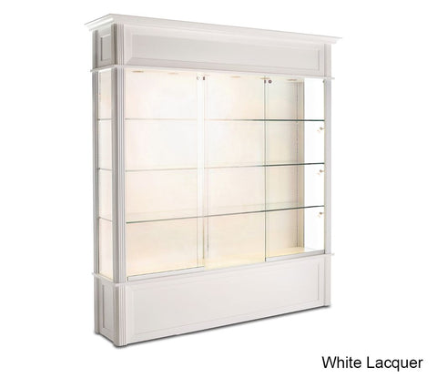 "Classic Wooden Floor Display Case with 3/8"" Thick Glass Shelves"