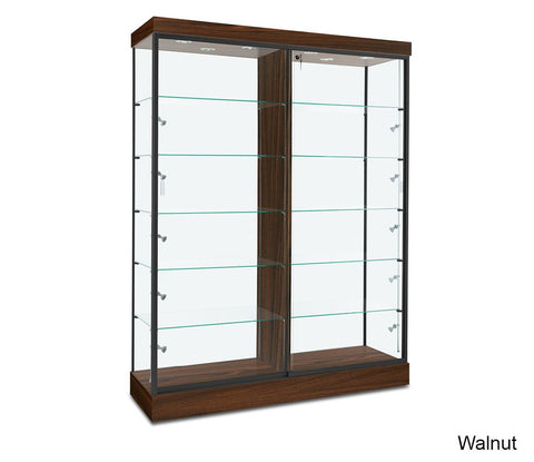 Five Foot Wide Display Glass Cabinet with Adjustable Shelves