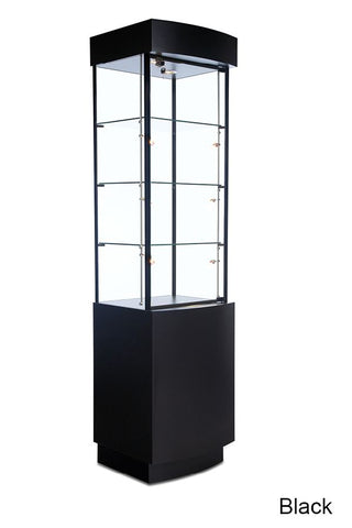 Polished Curved Cabinet Tower Showcase with Toe-Kick