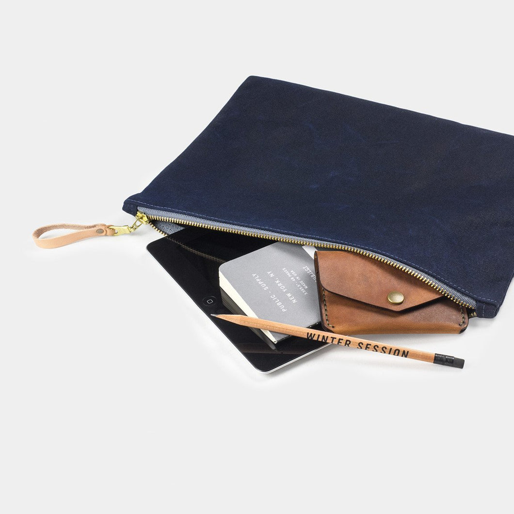 Winter Session - Medium Zip Folio - Navy Waxed Canvas