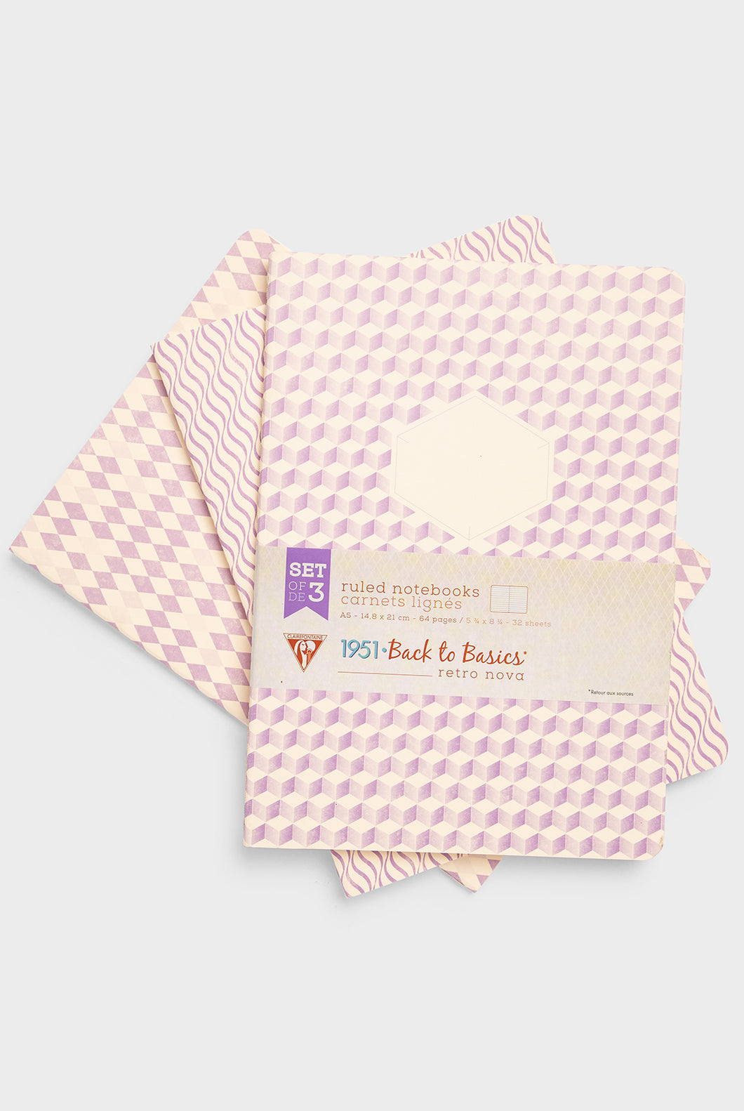 Clairefontaine - Retro Nova Notebook - Ruled - A5 - Purple