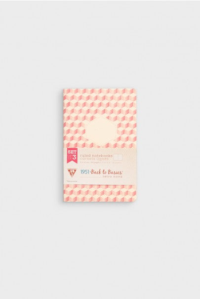 Clairefontaine - Retro Nova Notebook - Ruled - 9x14cm - Pink