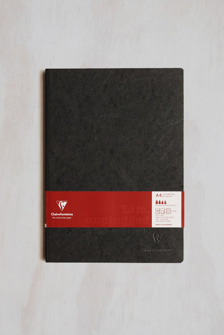 Clairefontaine Clothbound Notebook A4 96sh Ruled Black