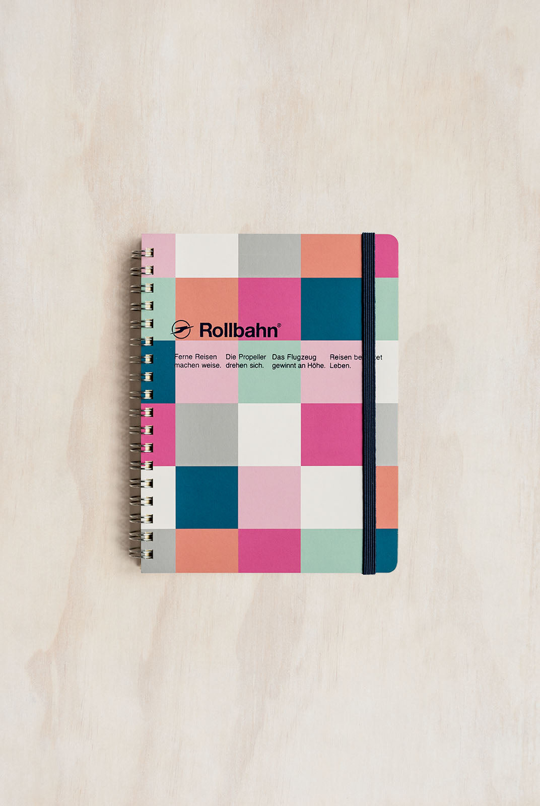 Delfonics - Rollbahn Notebook - Grid - Medium (14x18cm) - Block Check Pink