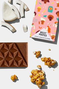Hey Tiger - Best Mates - 35% Milk Chocolate Mini Bar - Coconut & Caramelised Popcorn - 28g