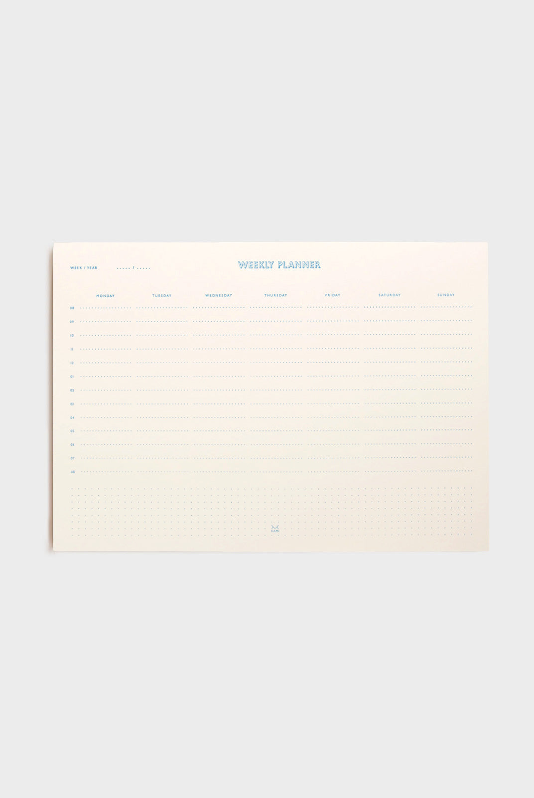 Kami Berlin - Undated Desk Planner - Weekly - A4 - White