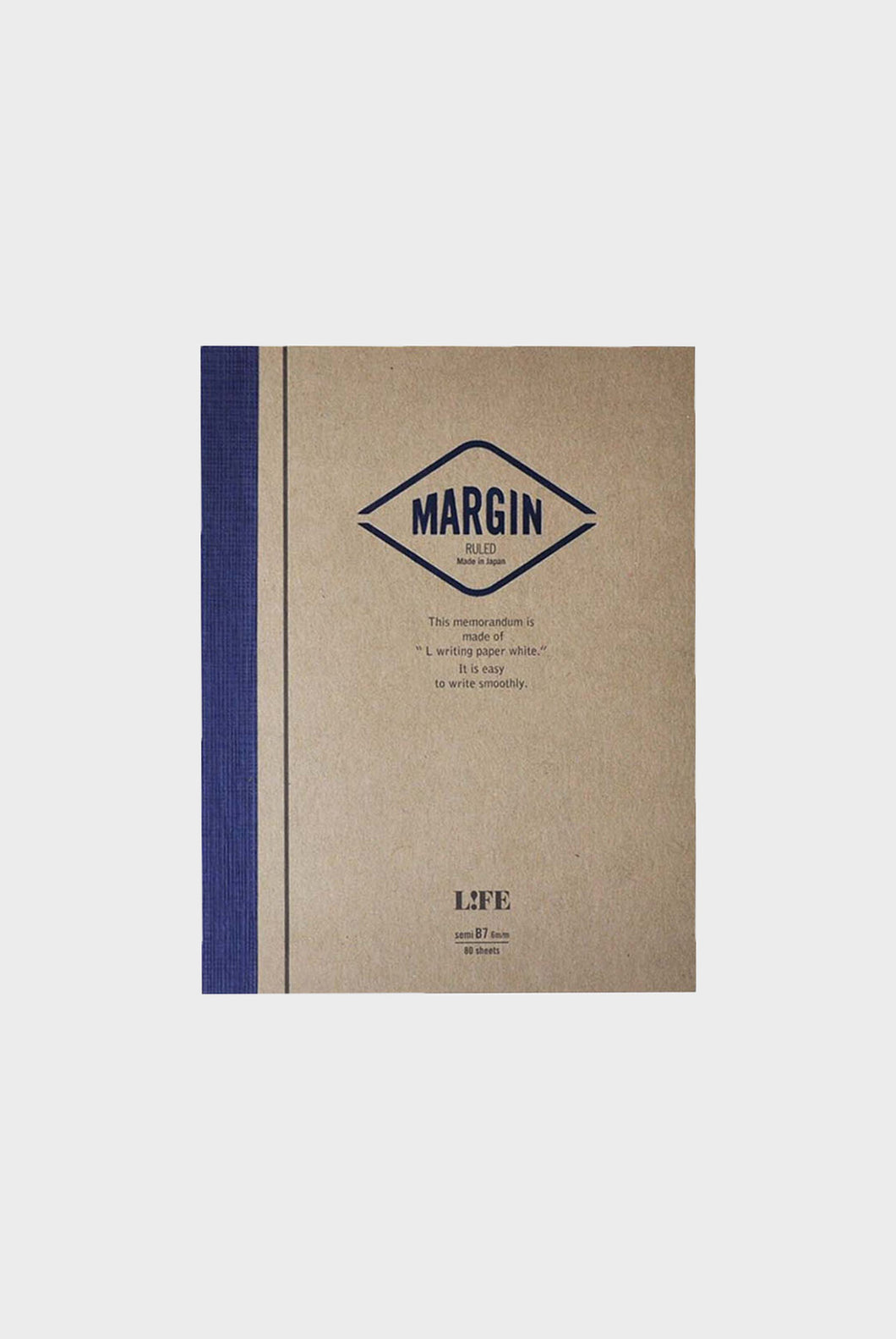 Life Stationery - Margin Memo Notepad - Ruled - B7 (9x12.5cm) - Kraft & Red