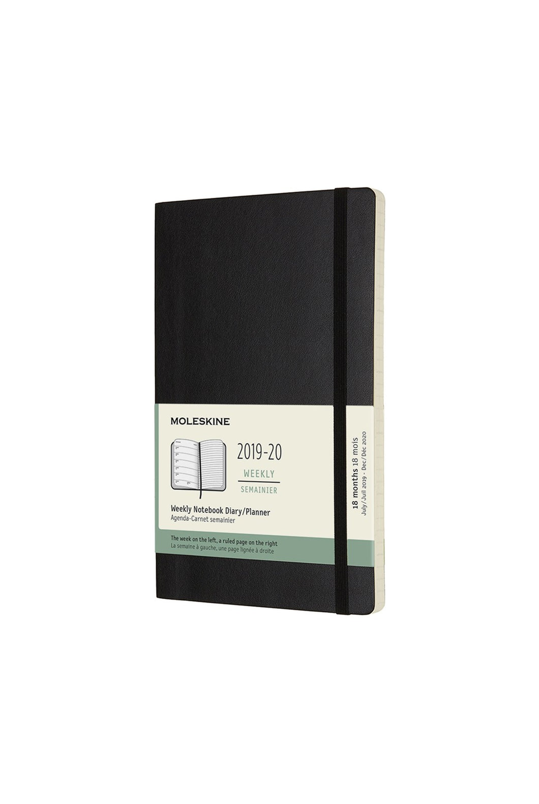 Moleskine - 2019-20 18 Month Diary - Weekly Notebook - Large (13x21cm) Soft Cover - Black