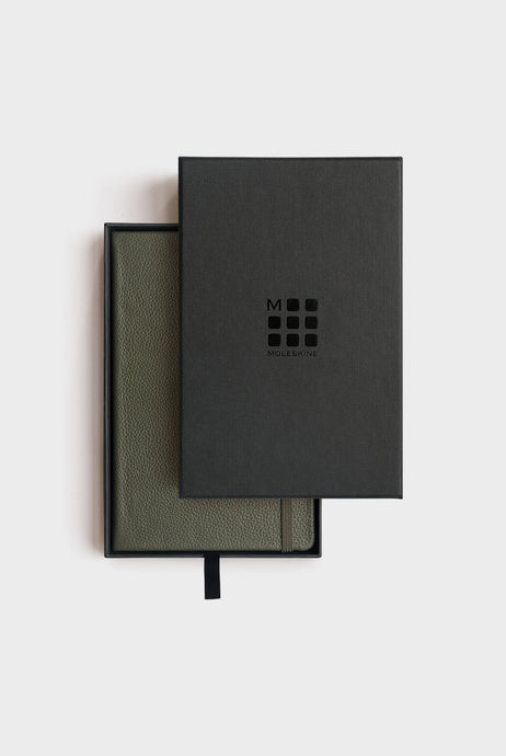 Moleskine - Genuine Leather Notebook - Ruled - Large - Moss Green