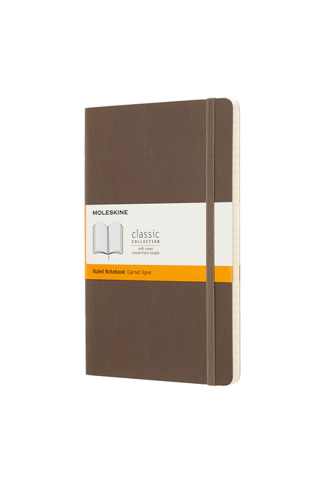 Moleskine - Classic Soft Cover Notebook - Ruled - Large (13x21cm) - Earth Brown