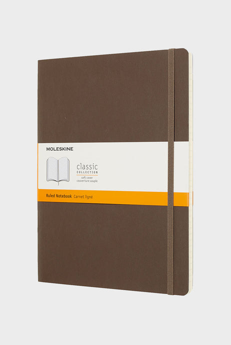 Moleskine - Classic Soft Cover Notebook - Ruled - Extra Large (19x25cm) - Earth Brown